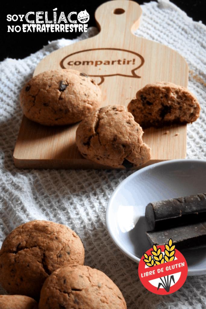 Galletas de chocolate sin gluten interior